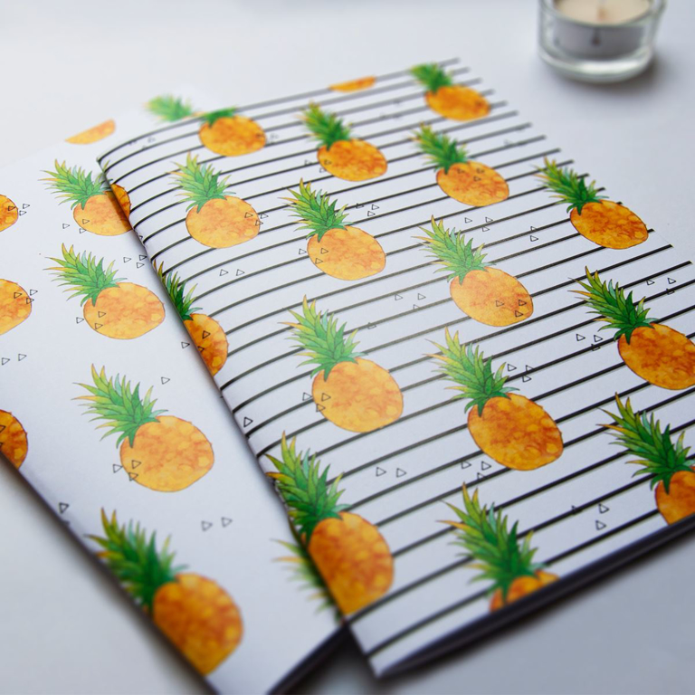 Pineapple Notebook and Stripey Pineapple Notebook | Available at Dessi-Designs.com
