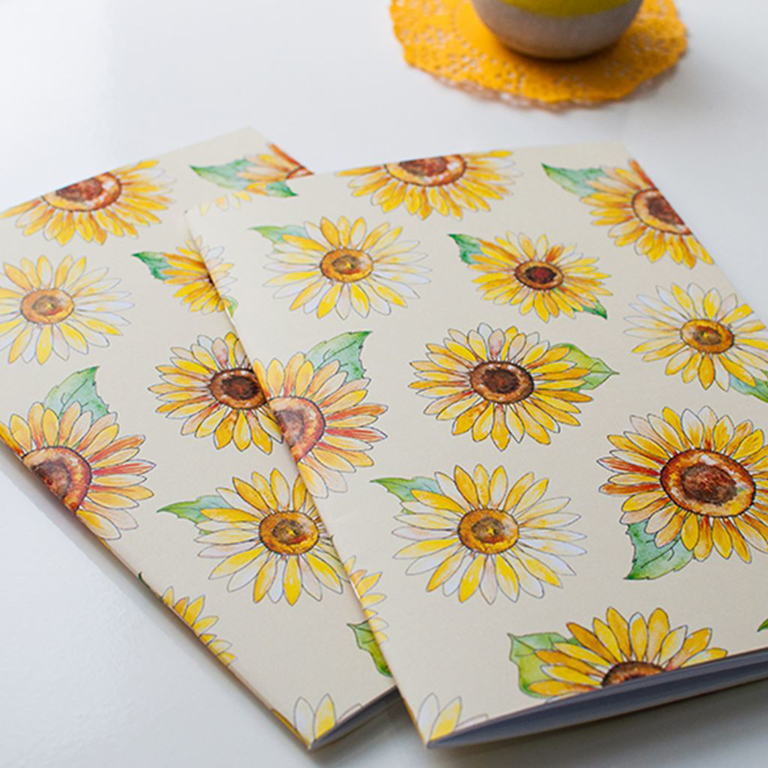 Yellow Sunflower Notebooks | Available at Dessi-Designs.com