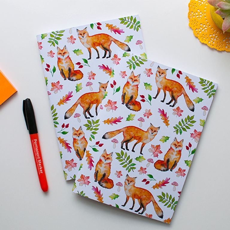 Orange Fox Notebooks | Available at Dessi-Designs.com