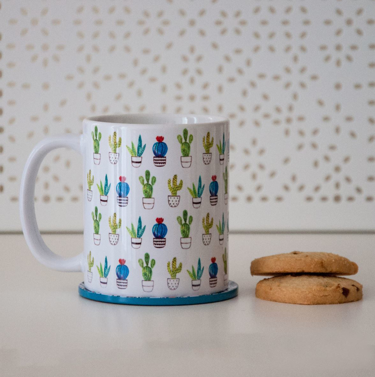 Cactus Pattern Coffee Microwavable Mug | Available at Dessi-Designs.com