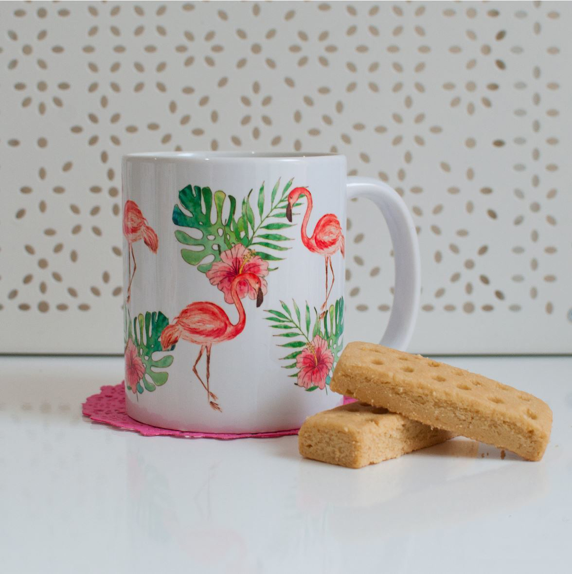 Pink Flamingo Microwavable Coffee Mug Available At Dessi Designs