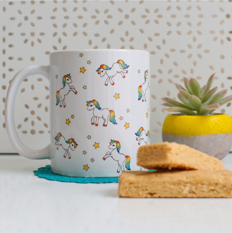 Pretty Unicorn Microwavable Coffee Mug | Available at Dessi-Designs.com