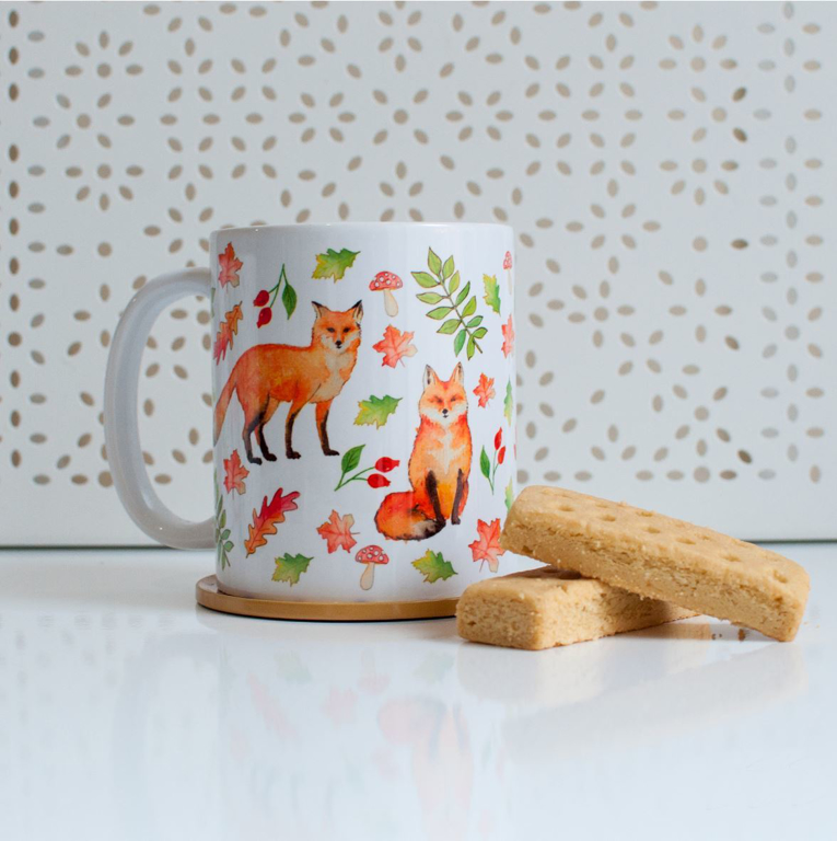 Orange Foxes Microwavable Coffee Mug | Available at Dessi-Designs.com