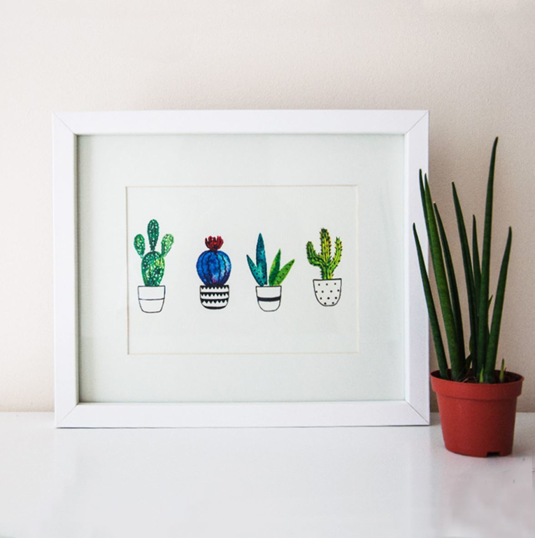 Picture of Watercolour Cactus Wall Print