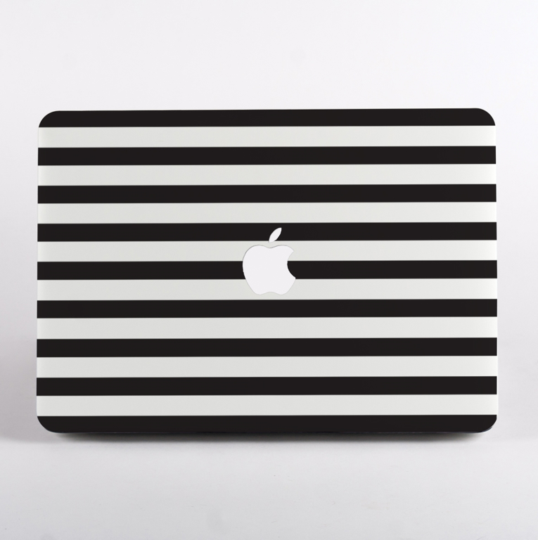 Black and White Stripes MacBook Case Front  | Available at Dessi-Designs.com