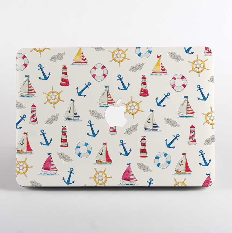 Summer Boats Pattern MacBook Case Front  | Available at Dessi-Designs.com
