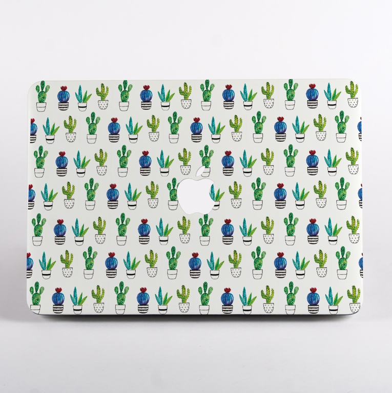 White Cactus MacBook Case Front  | Available at Dessi-Designs.com