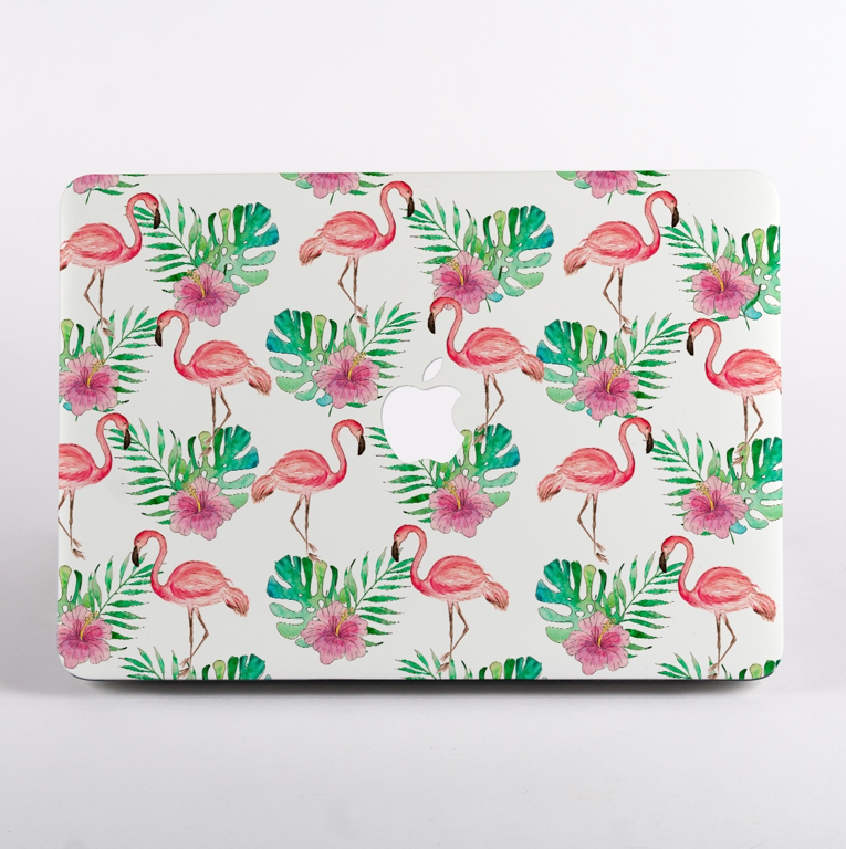 Pink Flamingo Pattern MacBook Case Front  | Available at Dessi-Designs.com