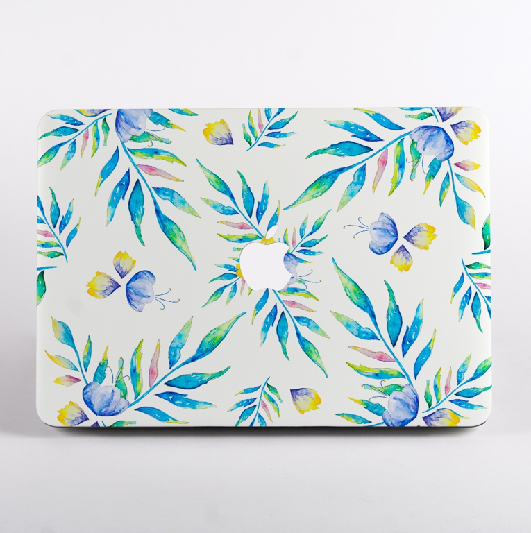 Watercolour Turquoise Floral Pattern MacBook Case Front  | Available at Dessi-Designs.com