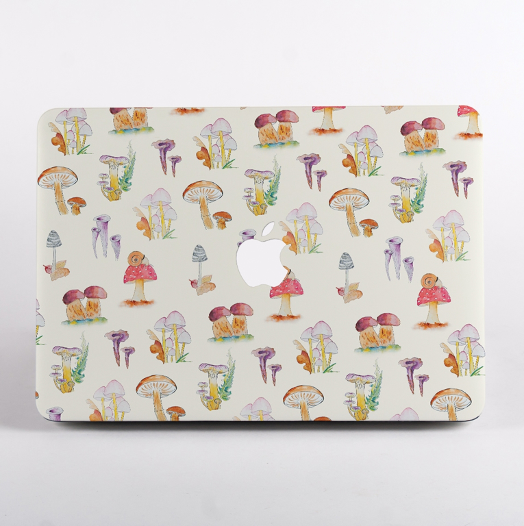 Mushrooms Pattern MacBook Case front  | Available at Dessi-Designs.com