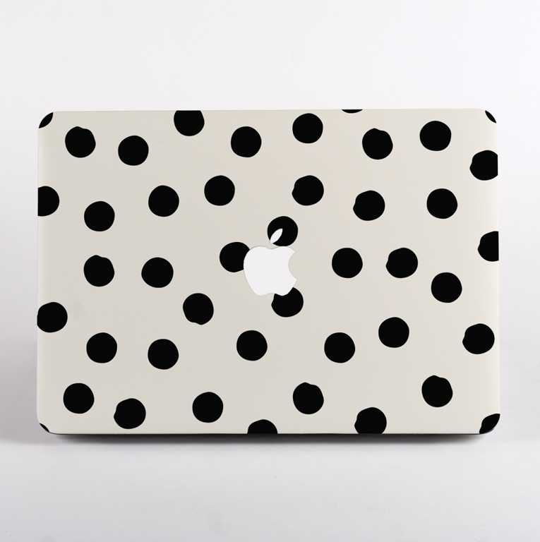 Black and White Painted Dots Pattern MacBook Case front  | Available at Dessi-Designs.com