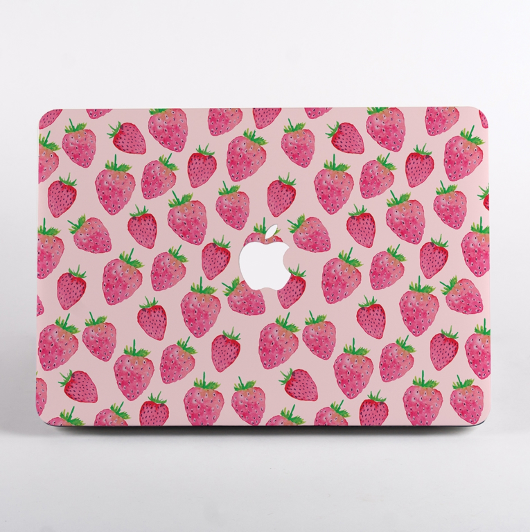 Pink Strawberry Pattern MacBook Case Front  | Available at Dessi-Designs.com