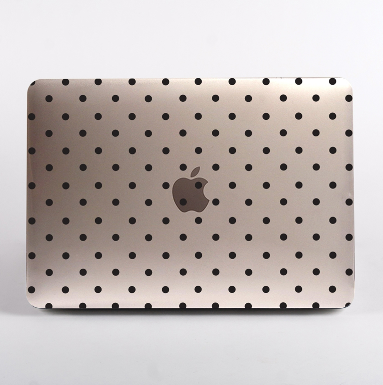 Clear Black Polka Dots MacBook Case Front  | Available at Dessi-Designs.com
