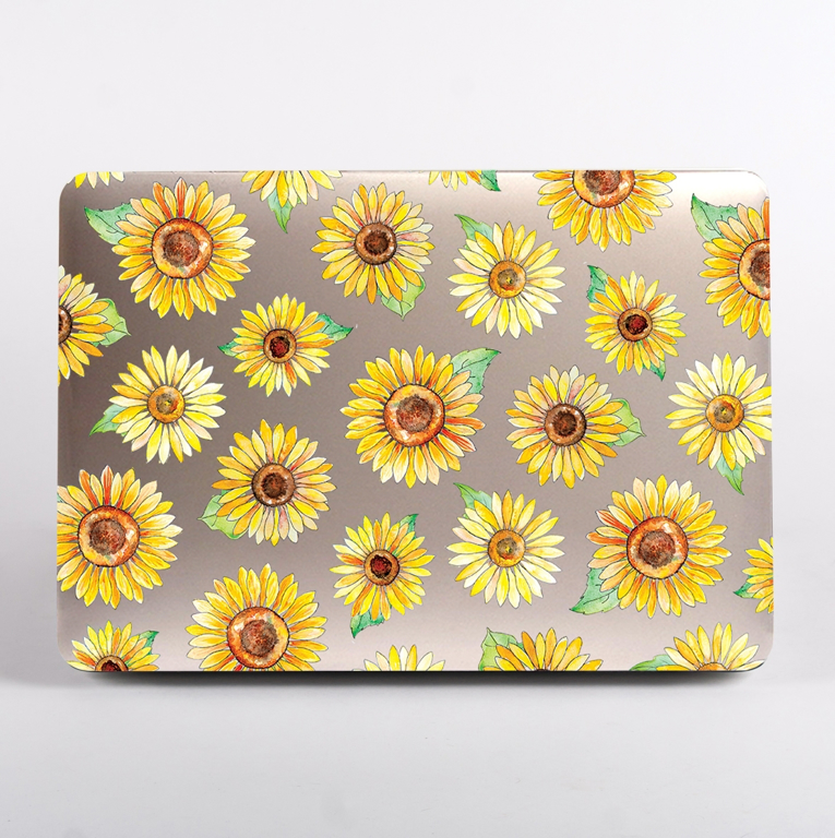 Clear Yellows Sunflowers MacBook Case Front  | Available at Dessi-Designs.com