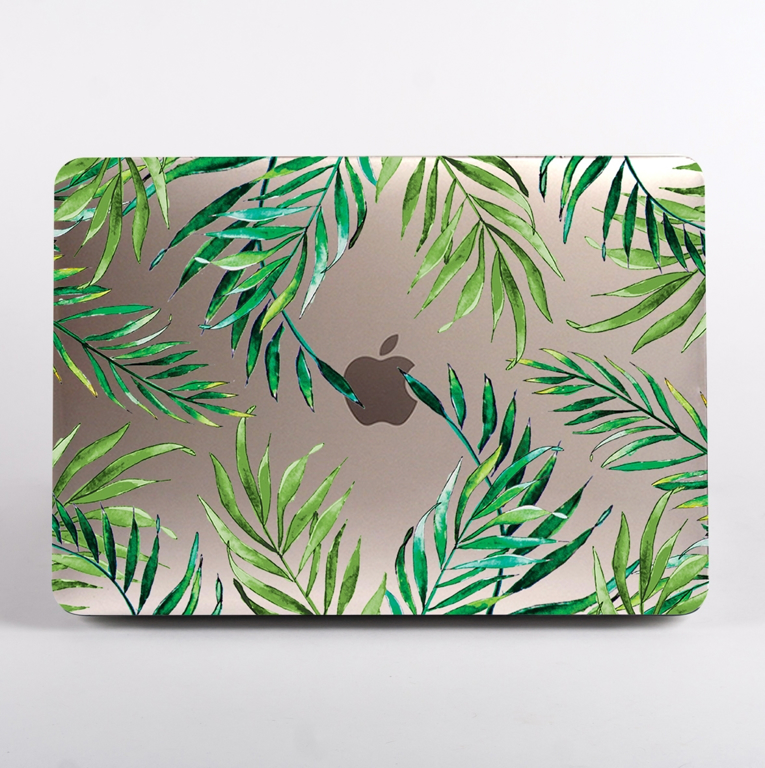 Clear Tropical Leaves Pattern MacBook Case Front | Available at Dessi-Designs.com