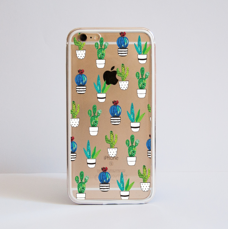 Clear Cactus iPhone Bumper Phone Case Front | Available at Dessi-Designs.com