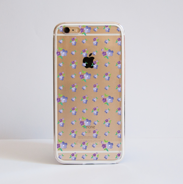 Clear Purple Mayflowers Bumper Case Front | Available at Dessi-Designs.com