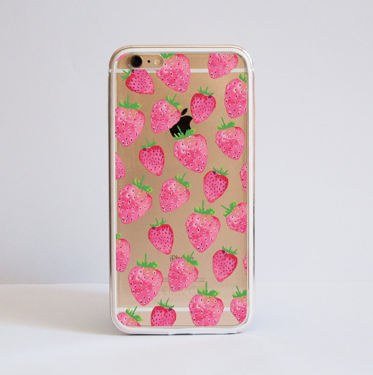 Clear Strawberries Bumper Phone Case Front | Available at Dessi-Designs.com