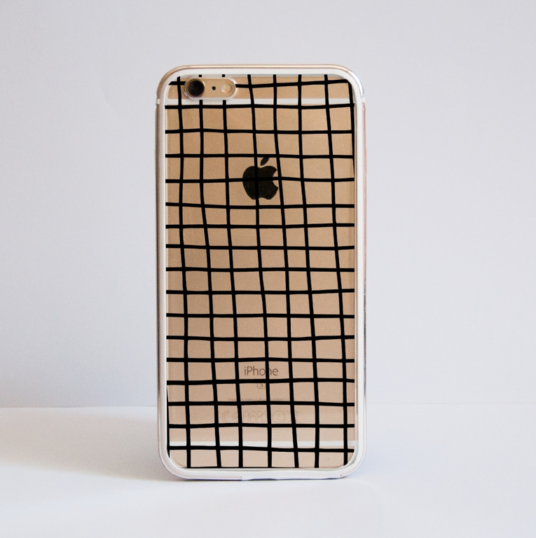 Black Cross Stripes iPhone Clear Bumper Phone Case Front | Available at Dessi-Designs.com
