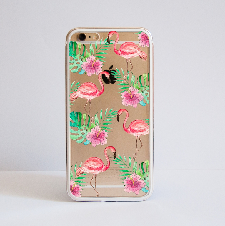 Flamingo Clear Bumper Phone Case Front  | Available at Dessi-Designs.com