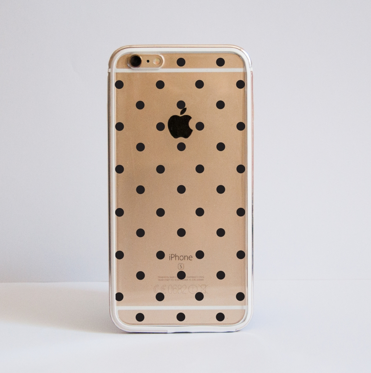 Clear Polka Dots iPhone Bumper Phone Case Front | Available at Dessi-Designs.com