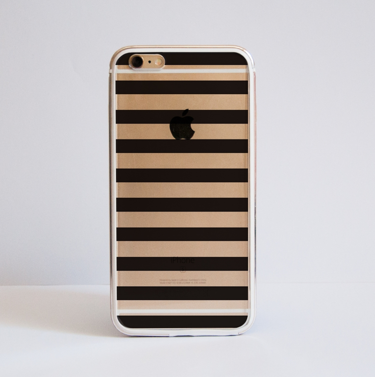 Black Stripes Transparent Bumper Case Front | Available at Dessi-Designs.com