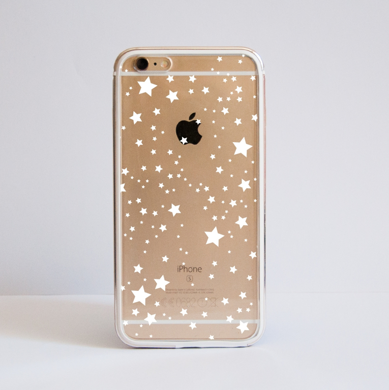 White Stars Clear iPhone Bumper Phone Case Front | Available at Dessi-Designs.com