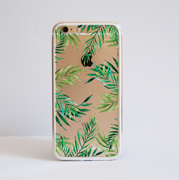 Clear Tropical Leaves iphone Bumper Phone Case Front | Available at Dessi-Designs.com