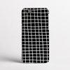 White in Black Cross Stripes Clear Bumper Phone Case Front | Available at Dessi-Designs.com