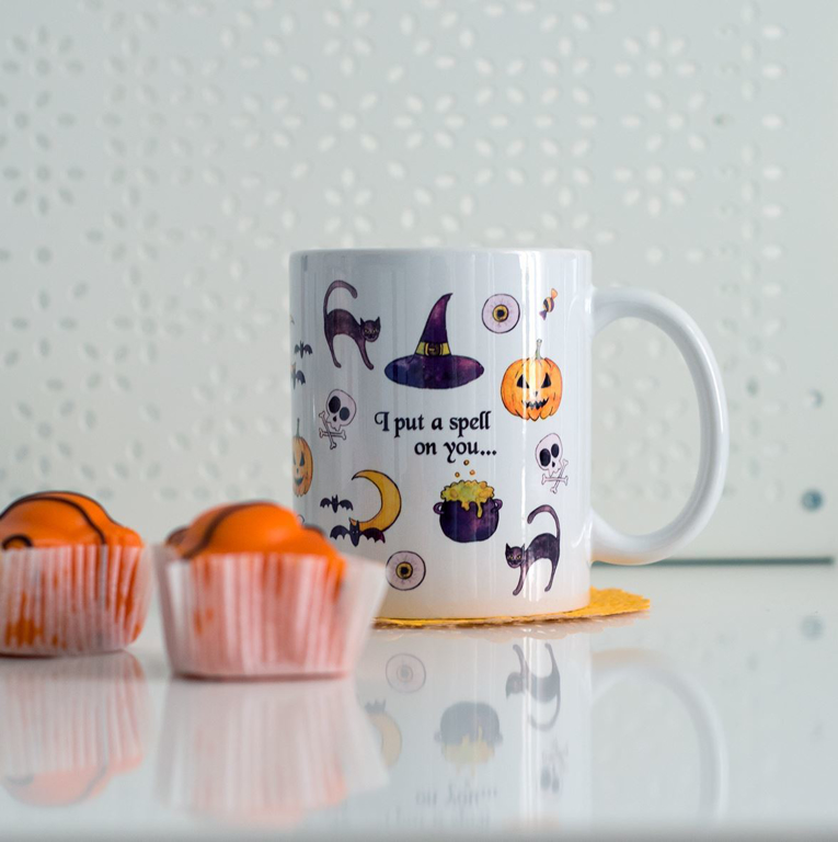 Cute Halloween Microwavable Coffee Mug | Available at Dessi-Designs.com
