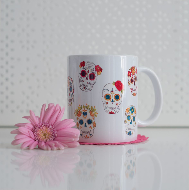 Sugar Skulls Microwavable Coffee Mug | Available at Dessi-Designs.com