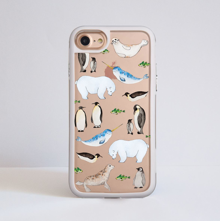 Arctic Animals White Impact iPhone Case Front | Available at Dessi-Designs.com