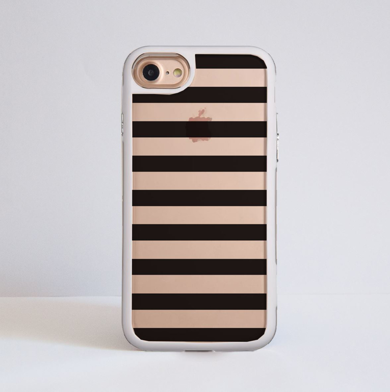 Black Stripes Clear Impact Phone Case White Front | Available at Dessi-Designs.com