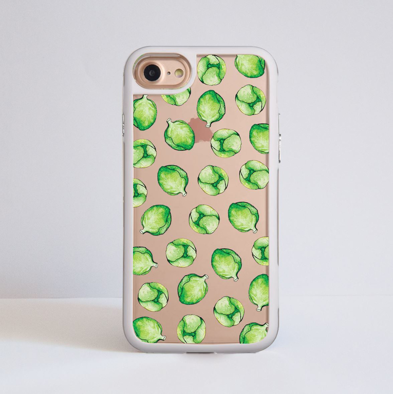 Brussels Sprouts Clear White iPhone Bumper Phone Case Front | Available at Dessi-Designs.com