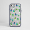 Clear Cactus Silver iPhone Impact Phone Case Grey Front | Available at Dessi-Designs.com