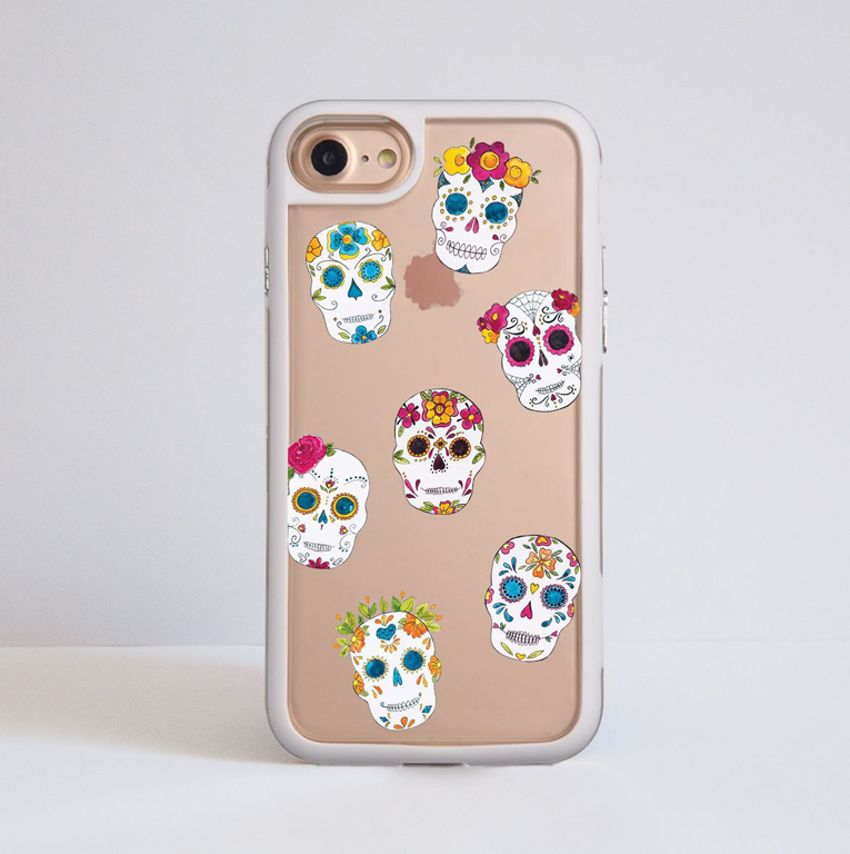 Clear Sugar Skulls iPhone Impact Phone Case White | Available at Dessi-Designs.com