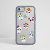 Clear Sugar Skulls iPhone Impact Phone Case Grey | Available at Dessi-Designs.com