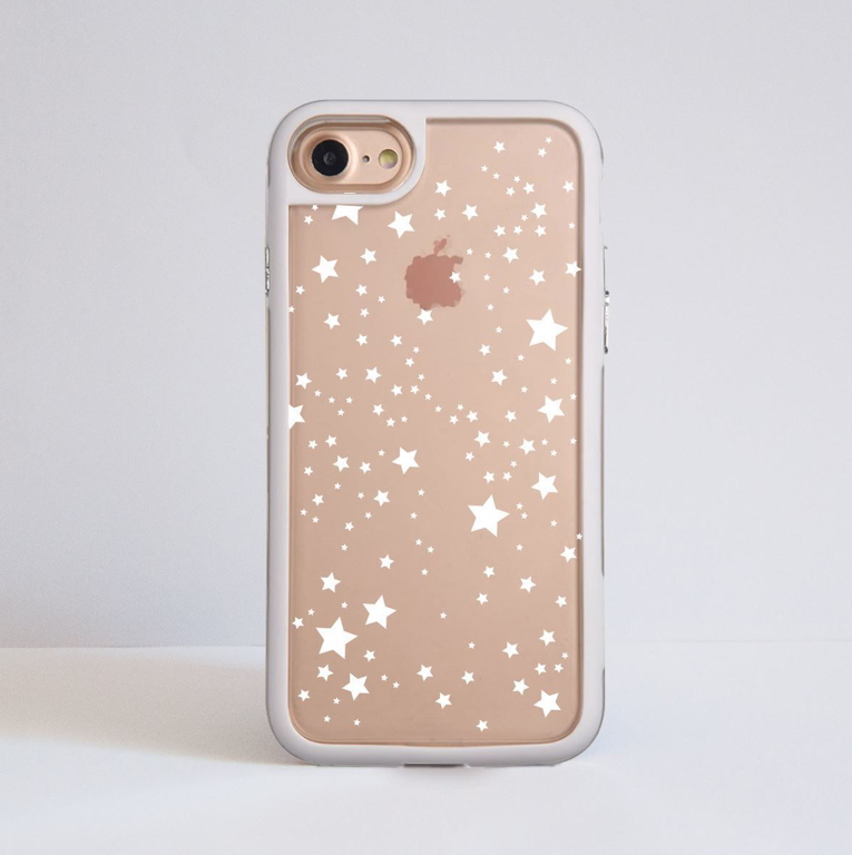 White Stars Clear iPhone Bumper Phone Case White | Available at Dessi-Designs.com