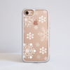 White Snowflakes Clear Impact Phone Case White Front | Available at Dessi-Designs.com