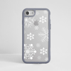 White Snowflakes Clear Impact Phone Case Grey Front | Available at Dessi-Designs.com