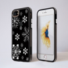 Black and White Snowflakes Treat Clear Impact Phone Case Black Front and Back | Available at Dessi-Designs.com