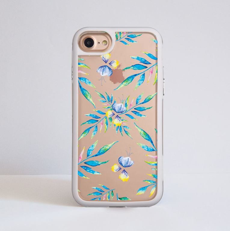 Bumper Phone Case  Clear Watercolour Floral iPhone White | Available at Dessi-Designs.com