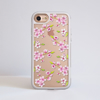 Clear Cherry Blossom White iPhone Impact Protective Phone Case Gold iPhone Front | Available at Dessi-Designs.com