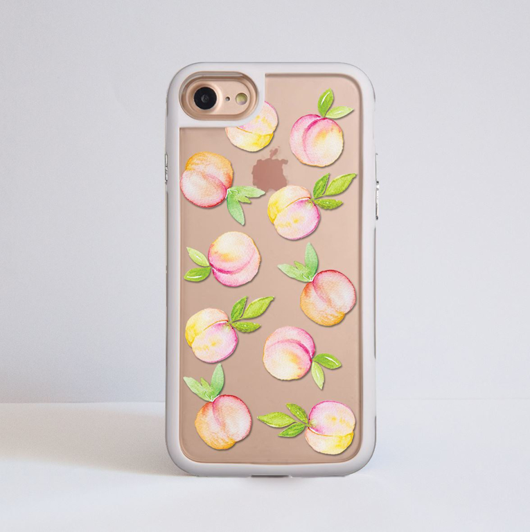 Peaches Clear iPhone Bumper Phone Case White | Available at Dessi-Designs.com