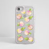 Peaches Clear Silver iPhone Bumper Phone Case White | Available at Dessi-Designs.com