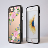 Clear Summer Florals Silver iPhone Bumper Phone Case Black | Available at Dessi-Designs.com