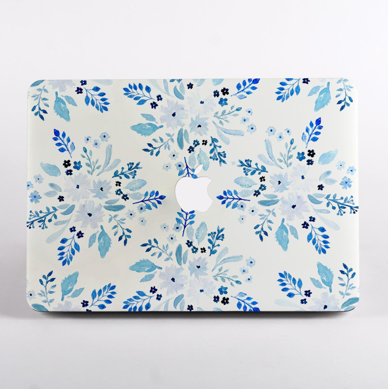 White and Blue Florals MacBook Case Apple Logo  | Available at Dessi-Designs.com