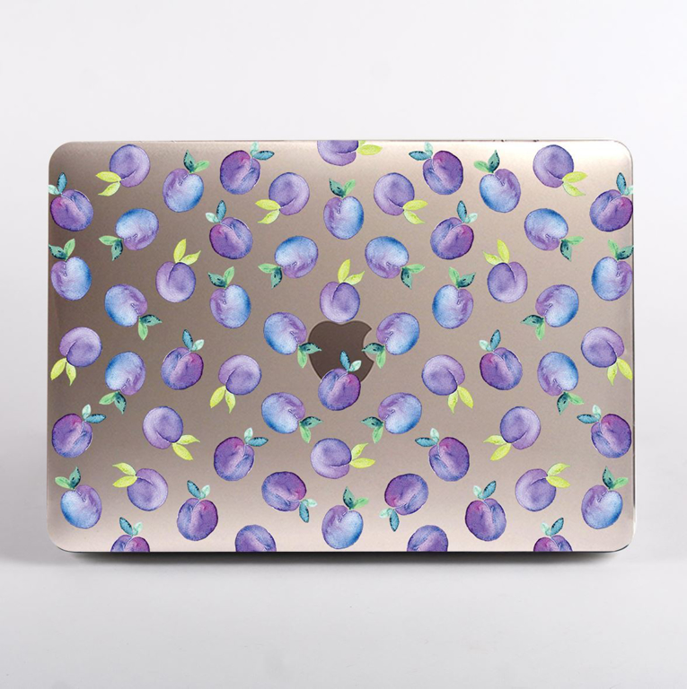 Clear Purple Plums Pattern MacBook Case Front  | Available at Dessi-Designs.com
