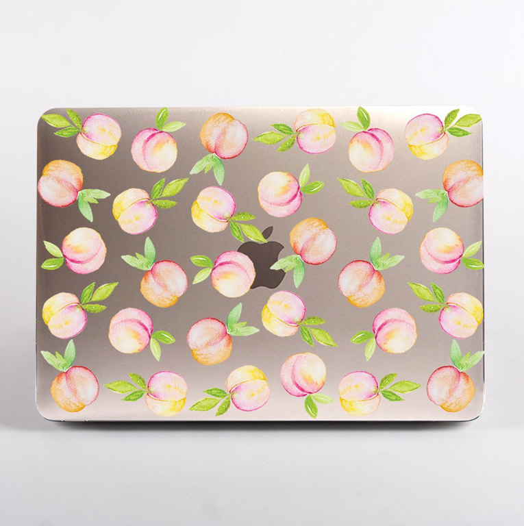 Clear Peaches Pattern MacBook Case Front  | Available at Dessi-Designs.com