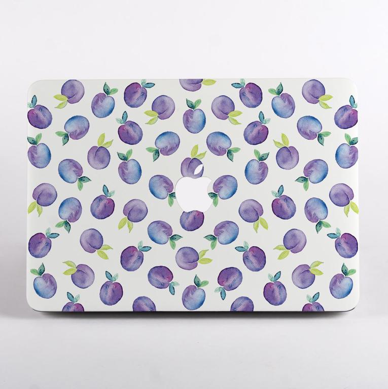 Purple Plum Pattern MacBook Case Front  | Available at Dessi-Designs.com